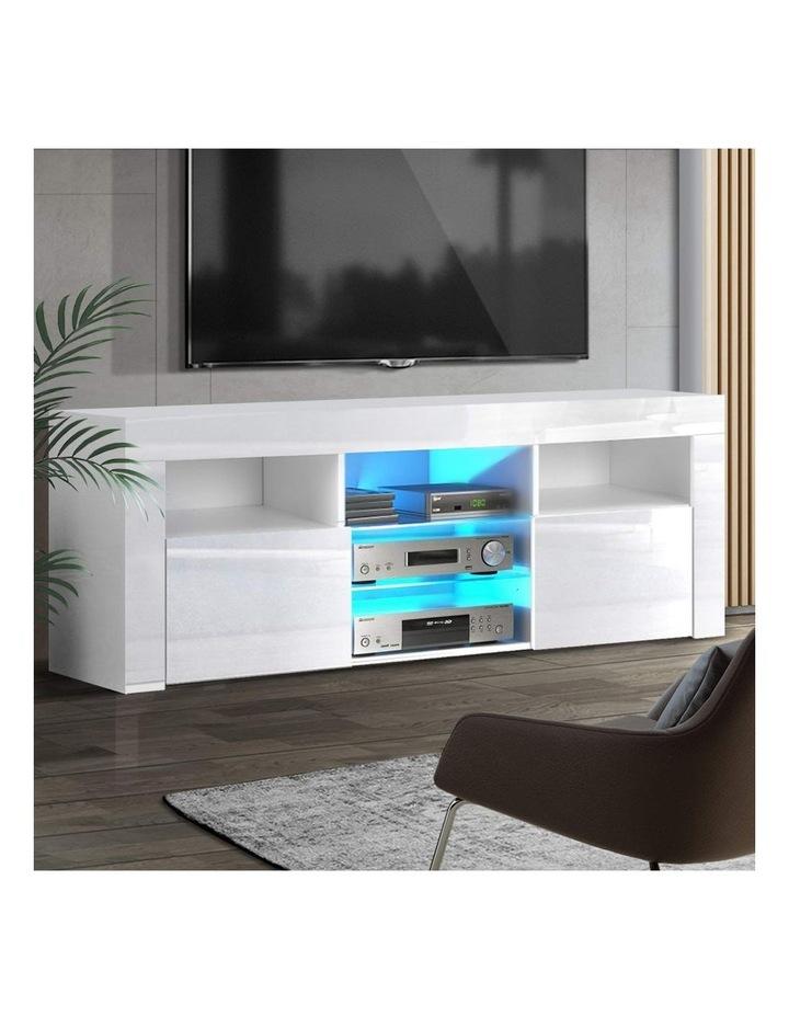 TV Cabinet Entertainment Unit Stand RGB LED Gloss Furniture 160cm White image 6