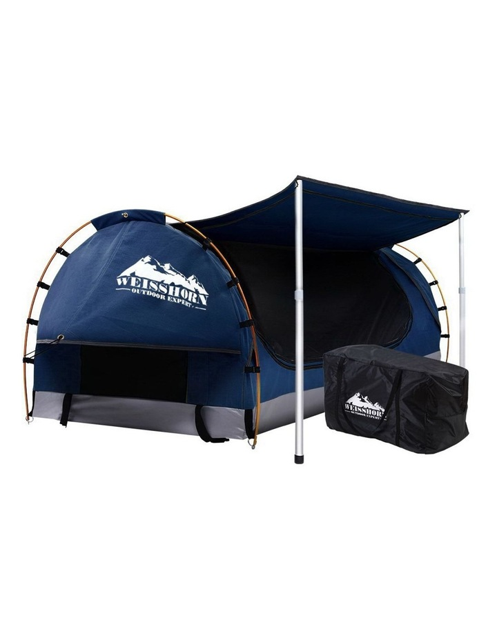 Camping Tent Double Size in Dark Blue with 7cm Mattress image 1