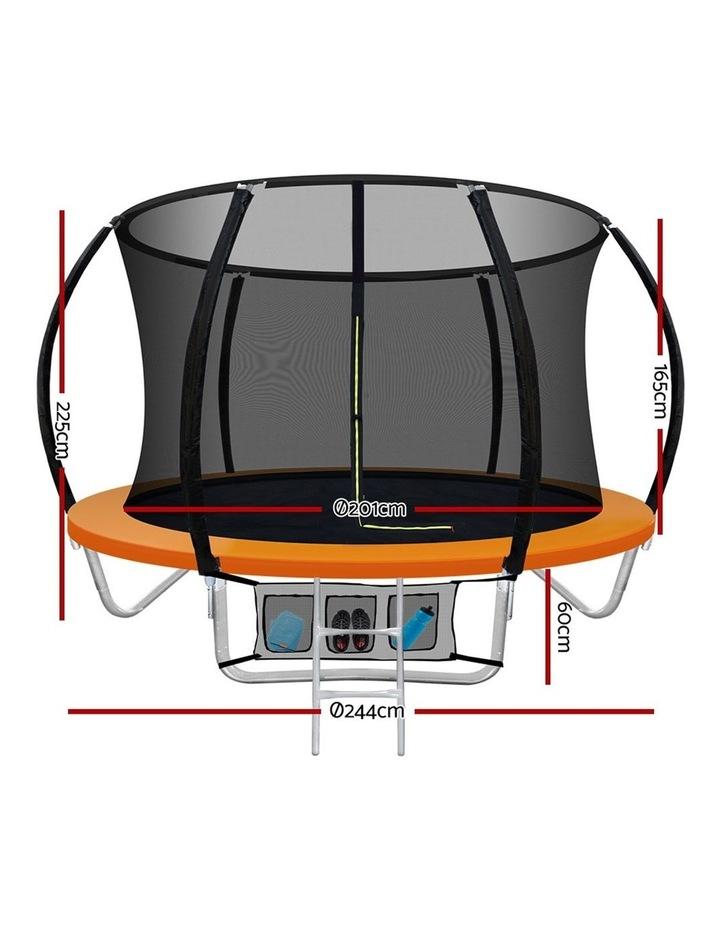 8FT Trampoline Round Trampolines Kids Present Gift Enclosure Safety Net Pad Outdoor Orange image 2