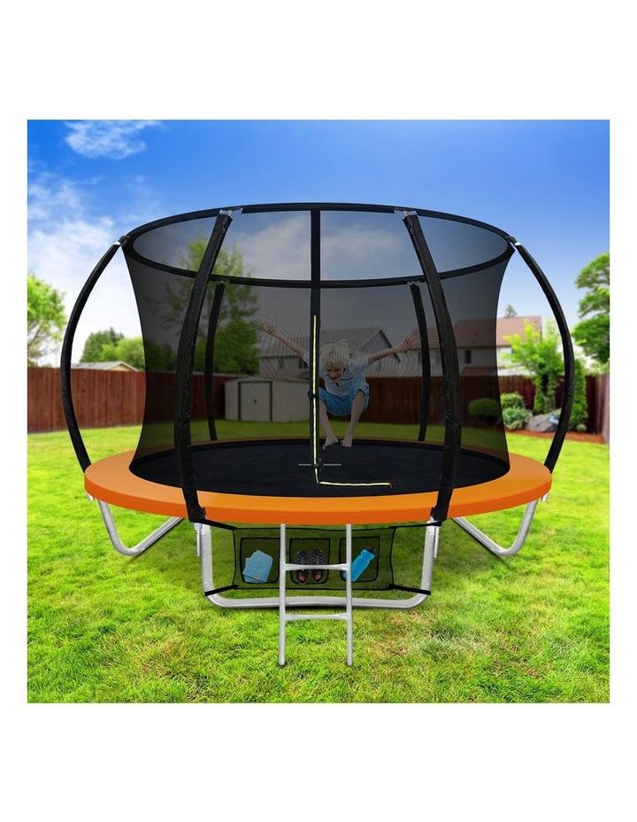 8FT Trampoline Round Trampolines Kids Present Gift Enclosure Safety Net Pad Outdoor Orange image 3