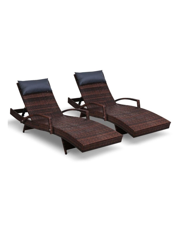Sun Lounge Outdoor Furniture Wicker Lounger Rattan Day Bed Garden Patio Brown image 1