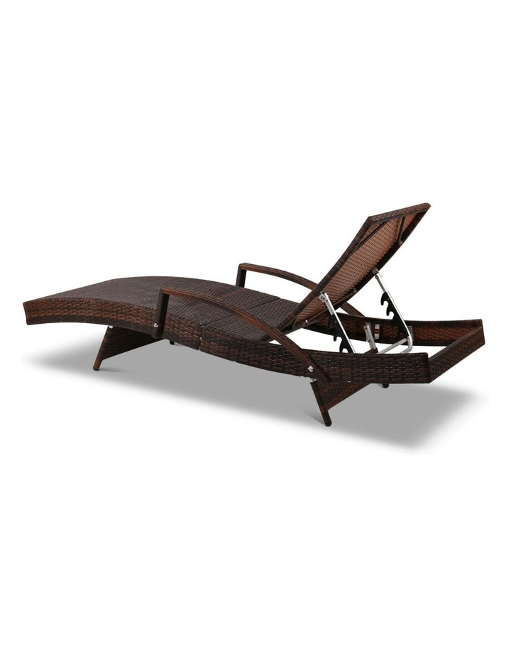 Sun Lounge Outdoor Furniture Wicker Lounger Rattan Day Bed Garden Patio Brown image 5