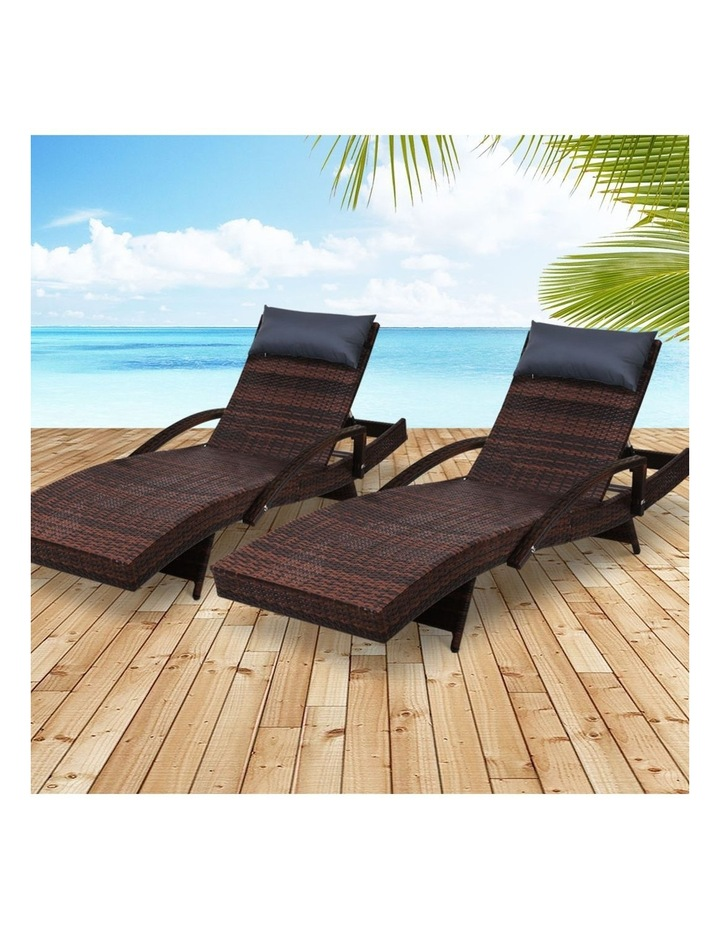 Sun Lounge Outdoor Furniture Wicker Lounger Rattan Day Bed Garden Patio Brown image 6