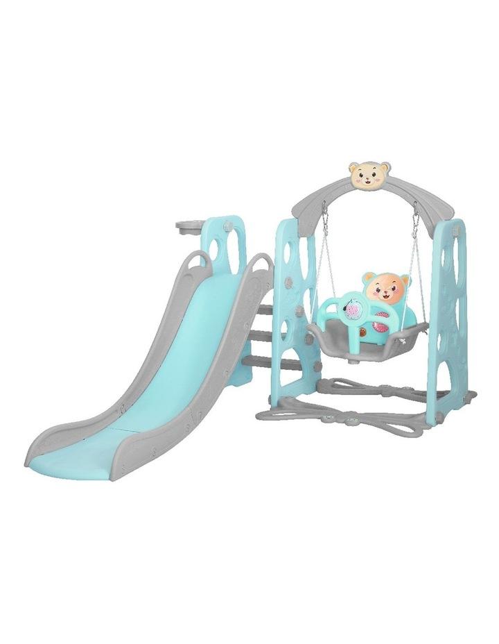 Kids Slide Swing Outdoor Playground Music Basketball Set Green image 1