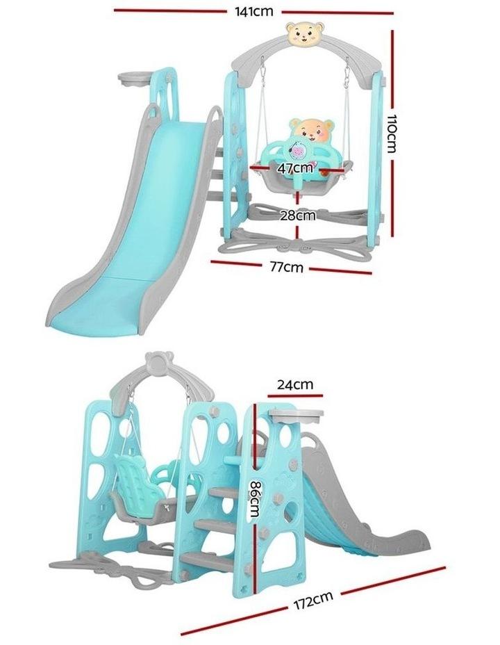 Kids Slide Swing Outdoor Playground Music Basketball Set Green image 2