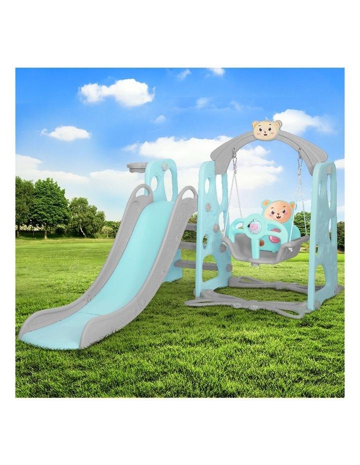 Kids Slide Swing Outdoor Playground Music Basketball Set Green image 3