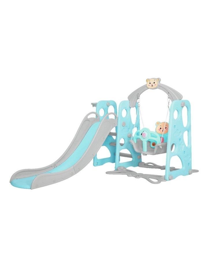 Kids Slide Swing Outdoor Playground Music Basketball Set Green image 4