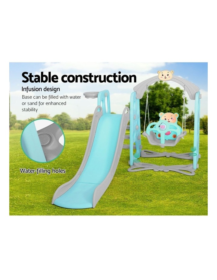 Kids Slide Swing Outdoor Playground Music Basketball Set Green image 6