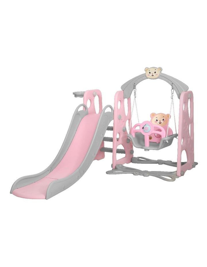Kids Slide Swing Outdoor Playground Music Basketball Set Pink image 1