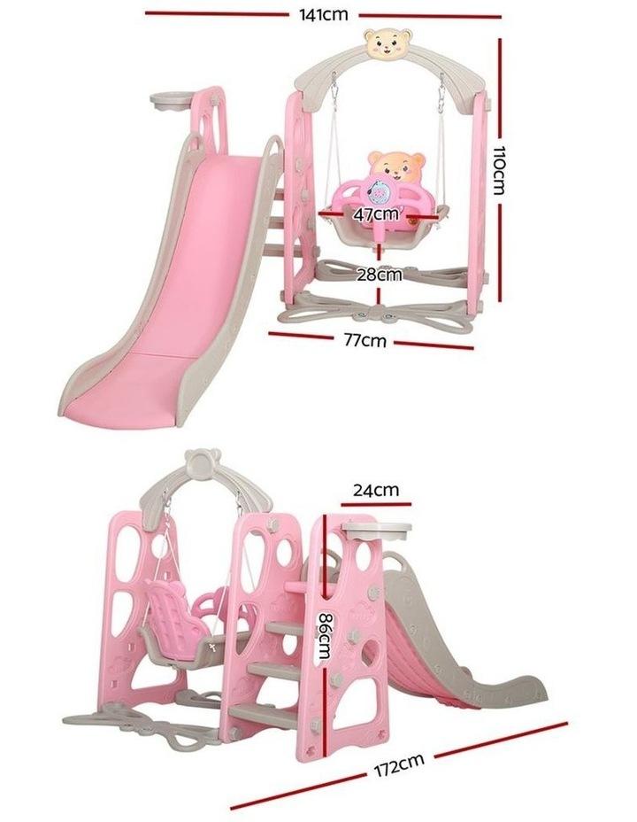 Kids Slide Swing Outdoor Playground Music Basketball Set Pink image 2