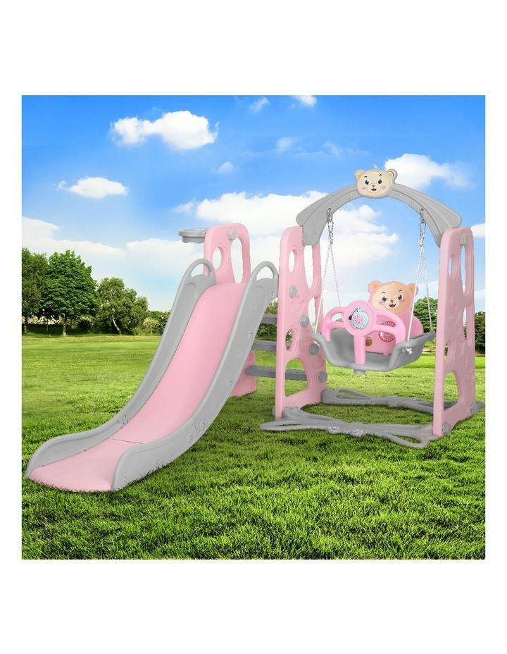 Kids Slide Swing Outdoor Playground Music Basketball Set Pink image 3