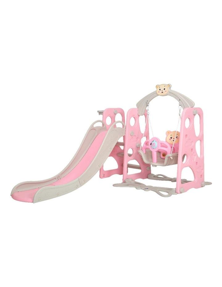 Kids Slide Swing Outdoor Playground Music Basketball Set Pink image 4