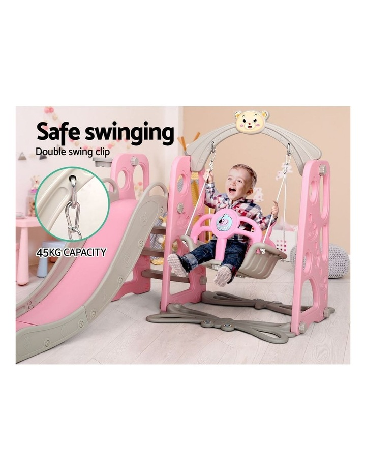 Kids Slide Swing Outdoor Playground Music Basketball Set Pink image 6