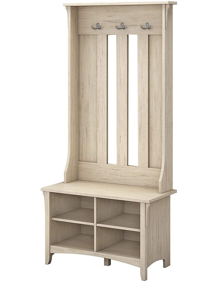 Salinas Shoe Bench with Hall Tree in Antique White image 1