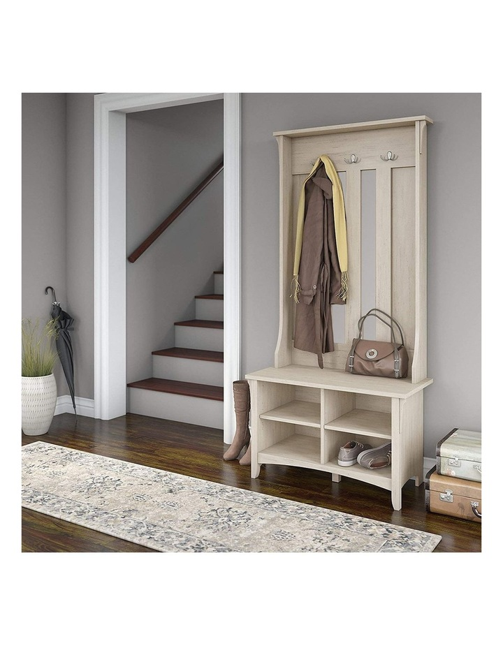 Salinas Shoe Bench with Hall Tree in Antique White image 4
