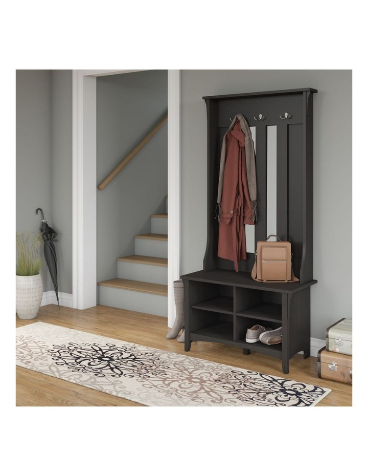Salinas Shoe Bench with Hall Tree in Vintage Black image 5