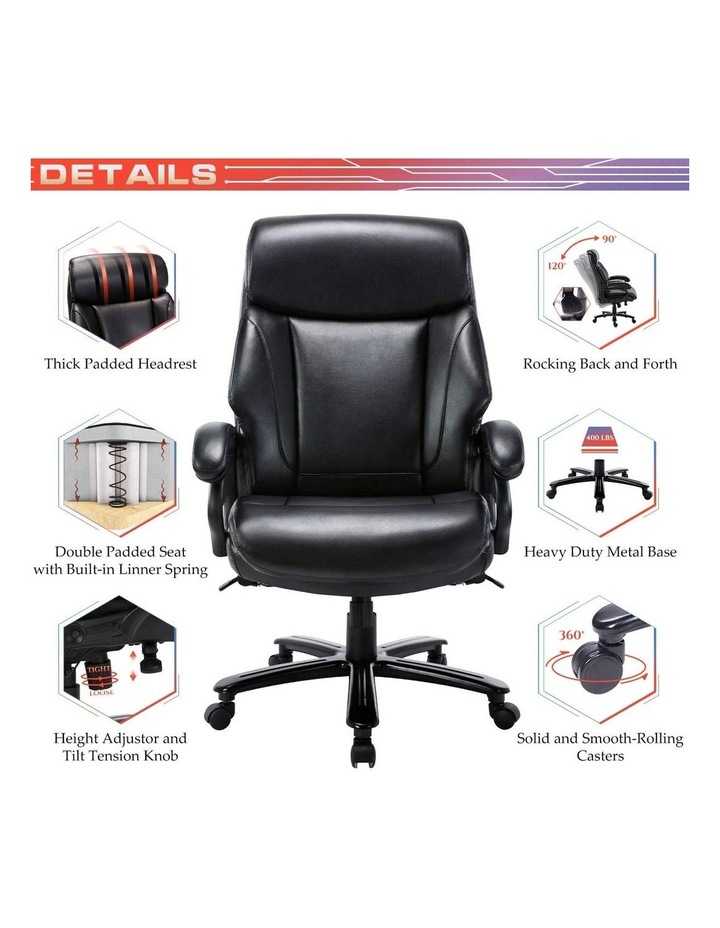 Innovative Comfort Coils High Back Big & Tall 180KG Bonded Leather Office Chair image 4