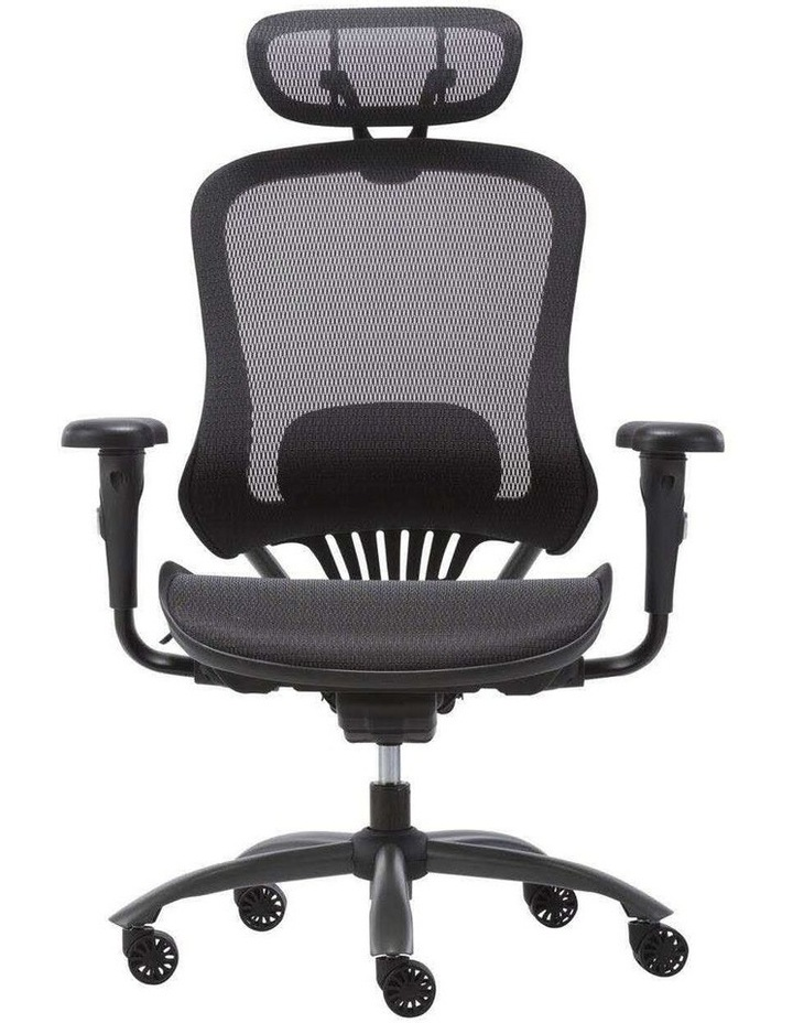 MECH Ergonomic Office Chair - High Back with Height Adjustable Lumbar Support and 2D Armrest- (Black) image 1