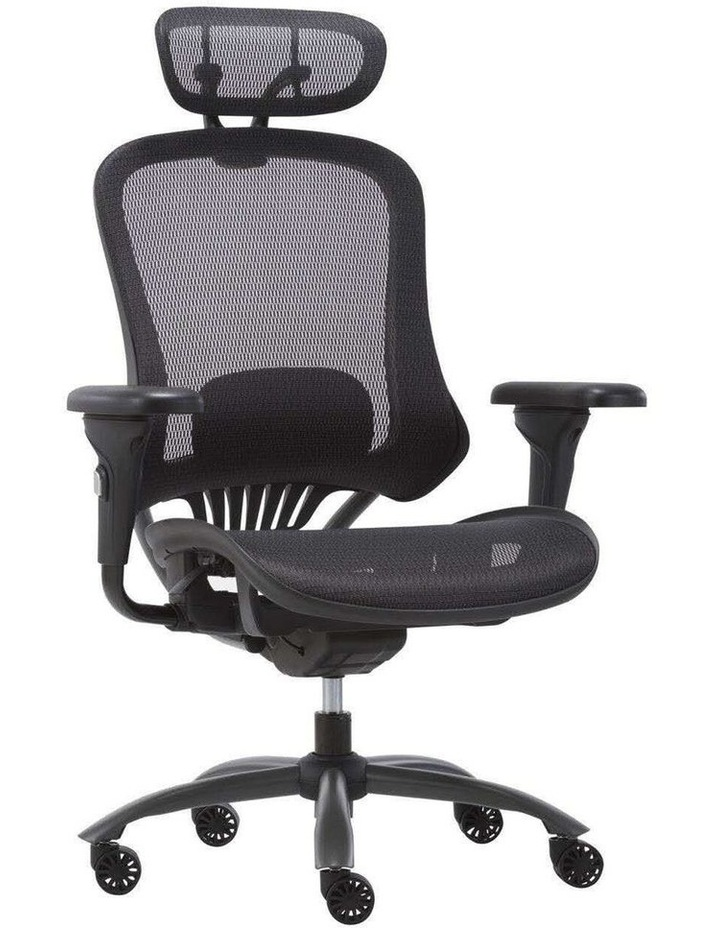 MECH Ergonomic Office Chair - High Back with Height Adjustable Lumbar Support and 2D Armrest- (Black) image 2