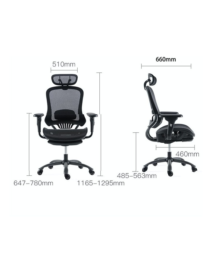 MECH Ergonomic Office Chair - High Back with Height Adjustable Lumbar Support and 2D Armrest- (Black) image 6