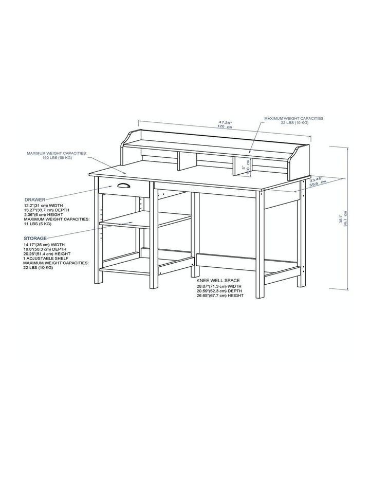 Jace 1.2m Writing Desk with Desktop Organiser in Washed Grey image 5