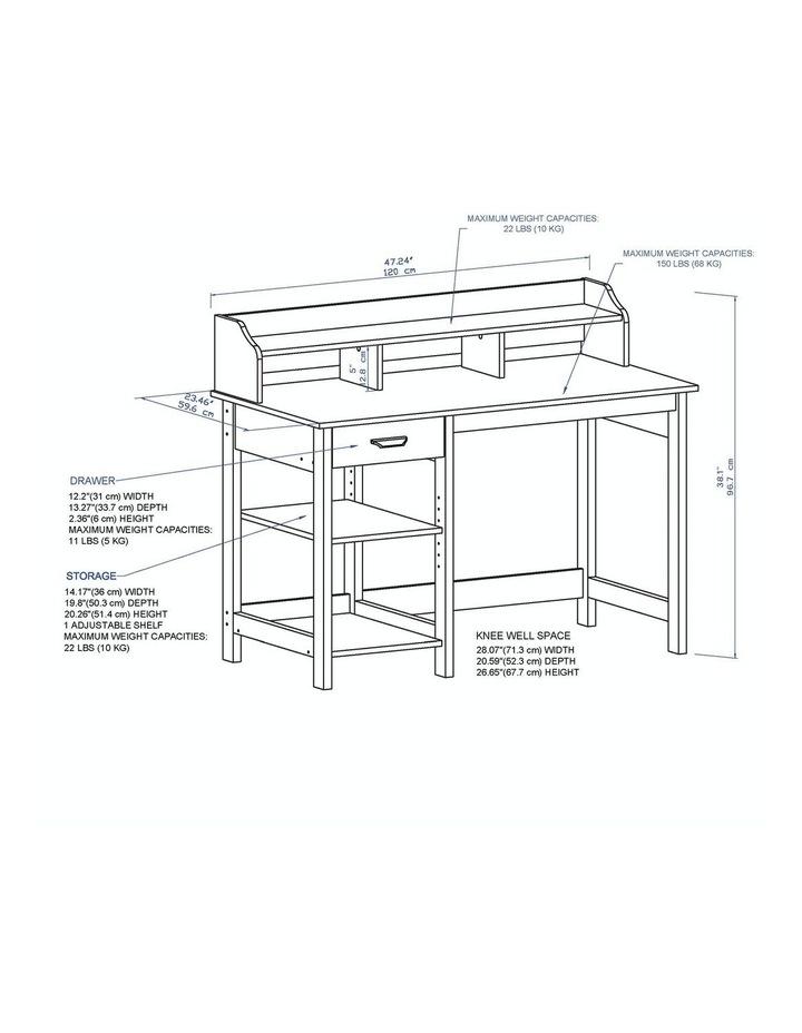 Jace 1.2m Writing Desk with Desktop Organiser in Honey Maple & Antique Black image 5