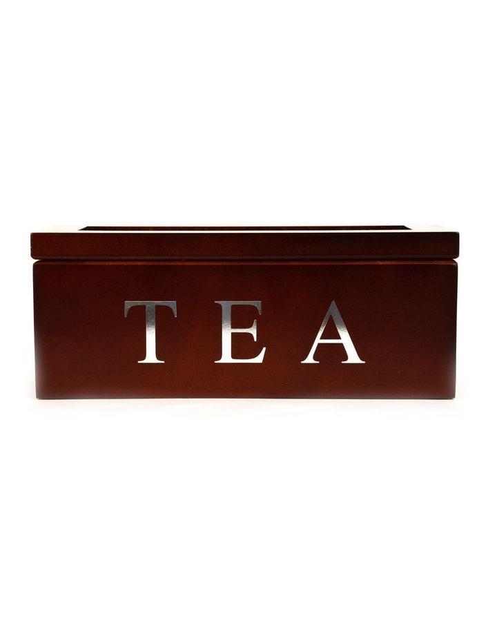 3 Compartment Wooden Tea Box-Brown image 1