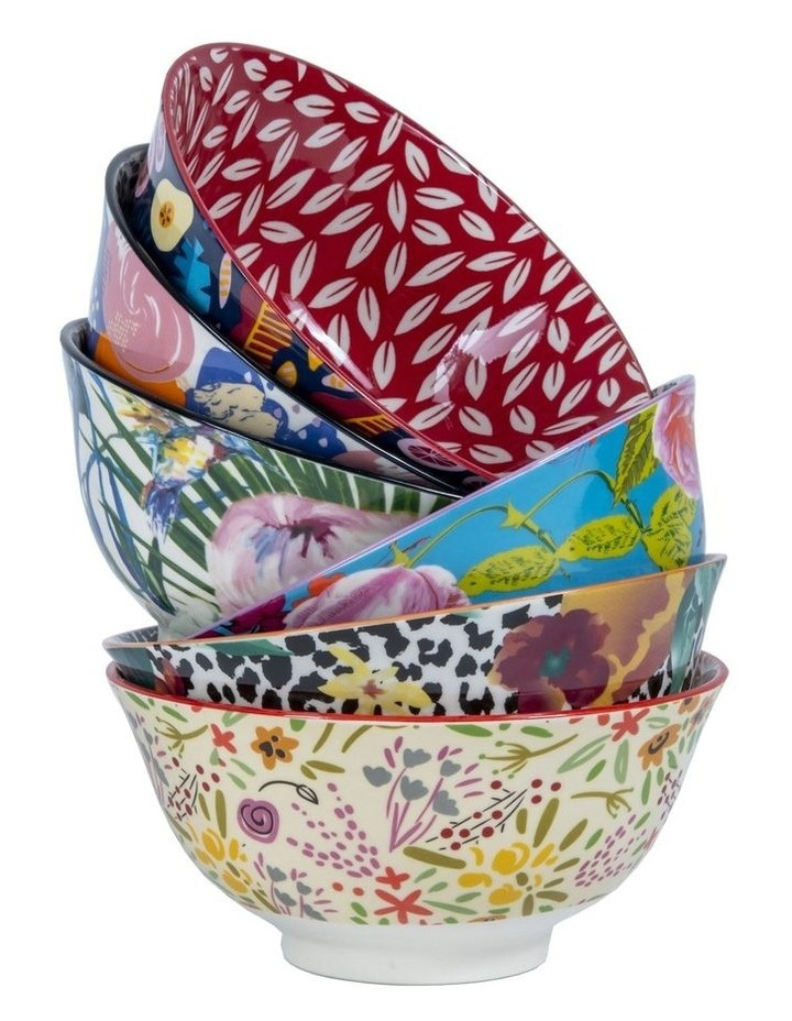 Set of 6 Floral Ceramic Bowls image 1