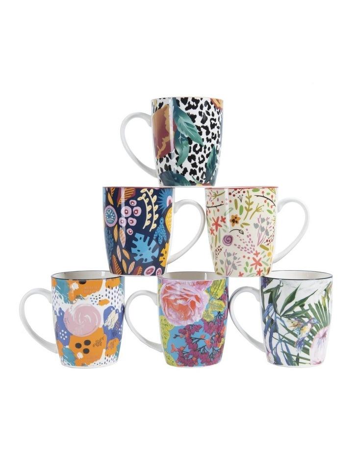 Set of 6 Floral Ceramic Coffee Mugs image 1