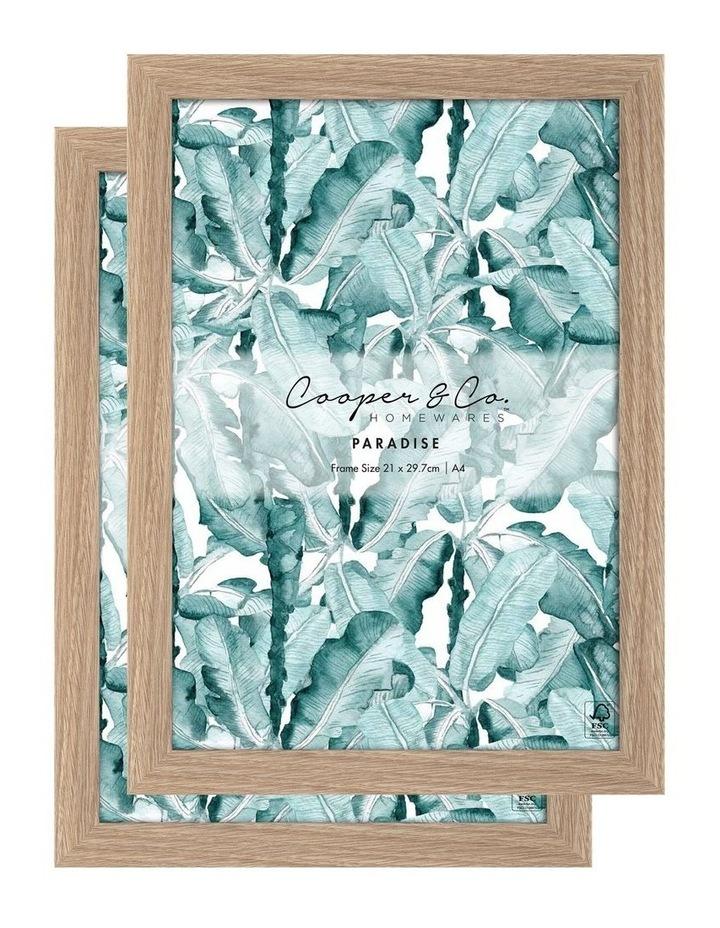 Set Of 2 21x29.7cm Oak Premium Paradise Wooden Photo Frame image 1