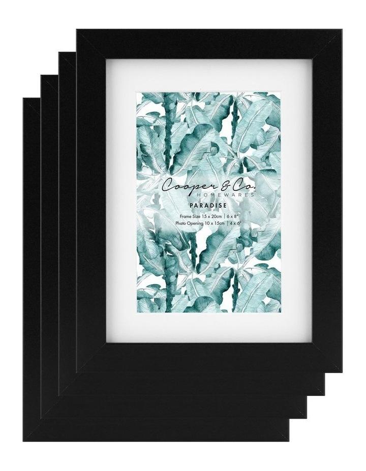 Set Of 4 15x20cm Mat to 10x15cm Black Premium Paradise Wooden Photo Frame image 1