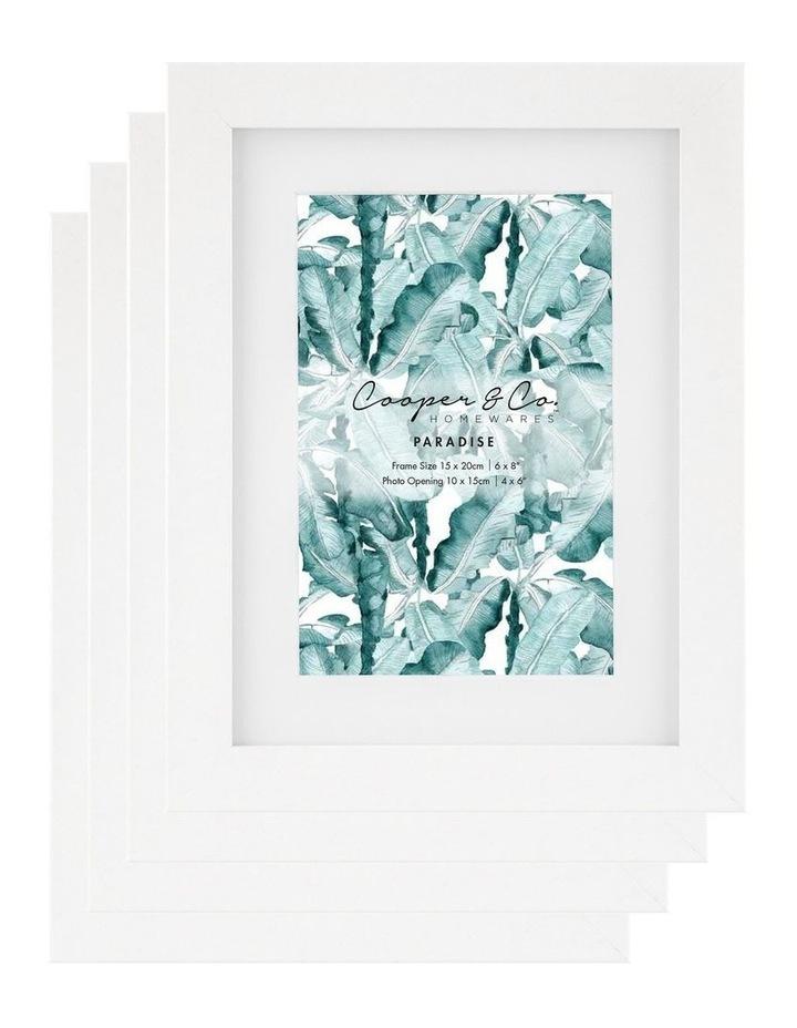 Cooper & Co Set Of 4 15x20cm Matt to 10x15cm White Premium Paradise Wooden Photo Frame image 1