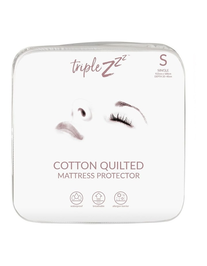 Triple Z Cotton Quilted Waterproof Single Fitted Mattress Protector 92 x 188cm image 1
