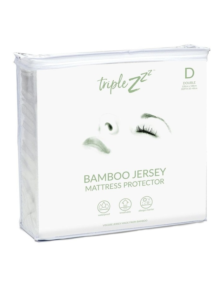 Triple Z Bamboo Jersey Waterproof Double Fitted Mattress Protector 138 x 188cm image 1