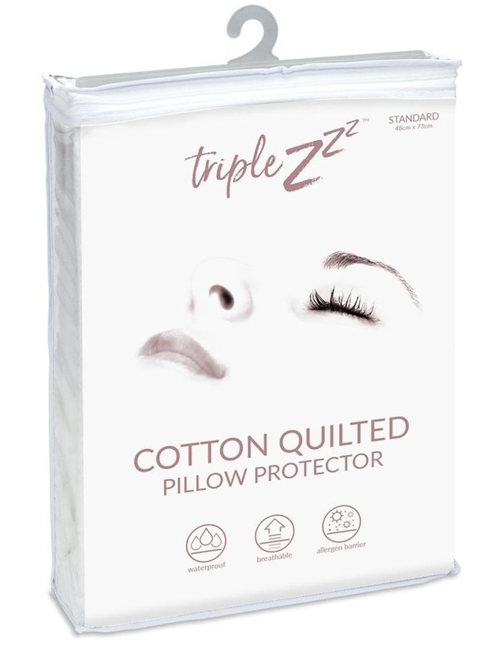 Triple Z Cotton Quilted Waterproof Standard Pillow Protector 48 x 73cm image 1