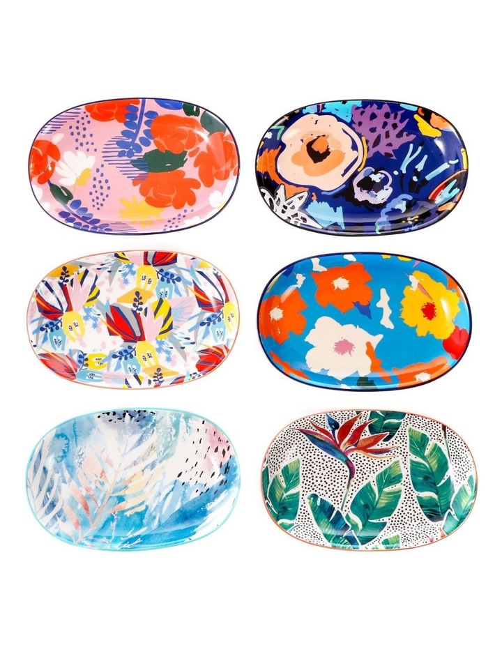 Set of 6 Ceramic Garden 23cm Plates image 1