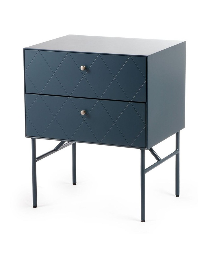 Living Brittany Bedside Table 2 Drawer Teal image 1