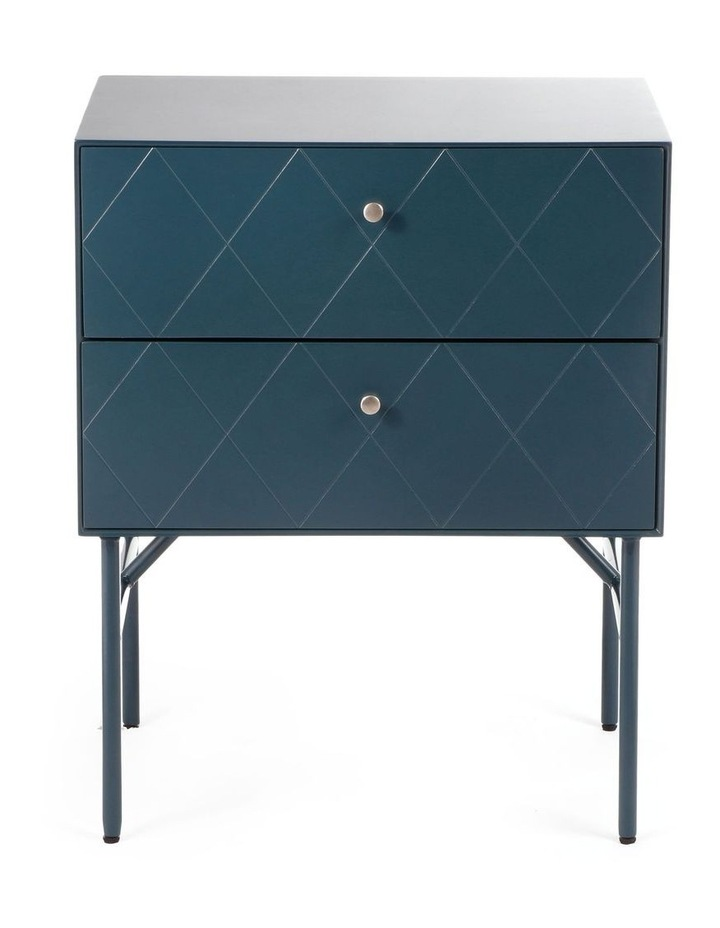 Living Brittany Bedside Table 2 Drawer Teal image 2