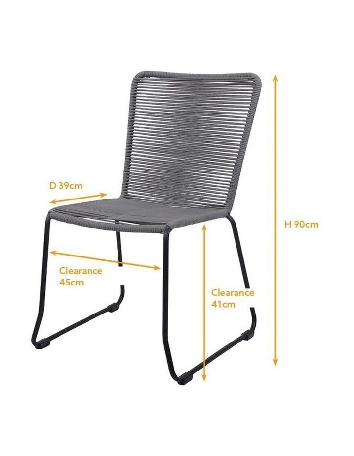 Living Jute Set of 2  Charcoal Armless Dining Chairs image 3