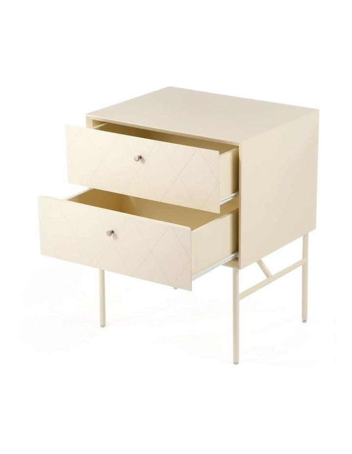 Living Modena Bedside Table 2 Drawer Ivory image 4
