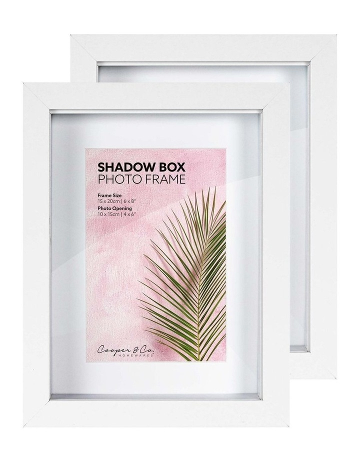 Set of 2 15x20cm mat to 10x15cm Set of 2 White Shadow Box Wooden Photo Frame image 3