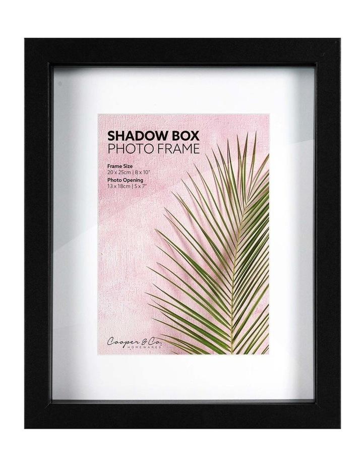 Set of 2 20x25cm mat to 13x18cm Set of 2 Black Shadow Box Wooden Photo Frame image 1