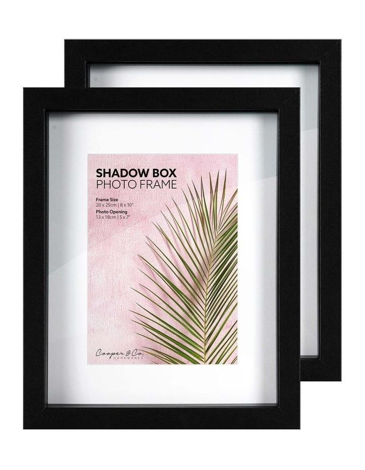 Set of 2 20x25cm mat to 13x18cm Set of 2 Black Shadow Box Wooden Photo Frame image 3