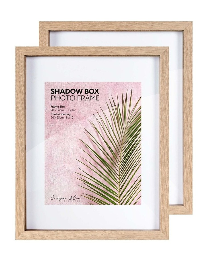 Set of 2 28x36cm mat to 20x25cm Set of 2 Oak Shadow Box Wooden Photo Frame image 3