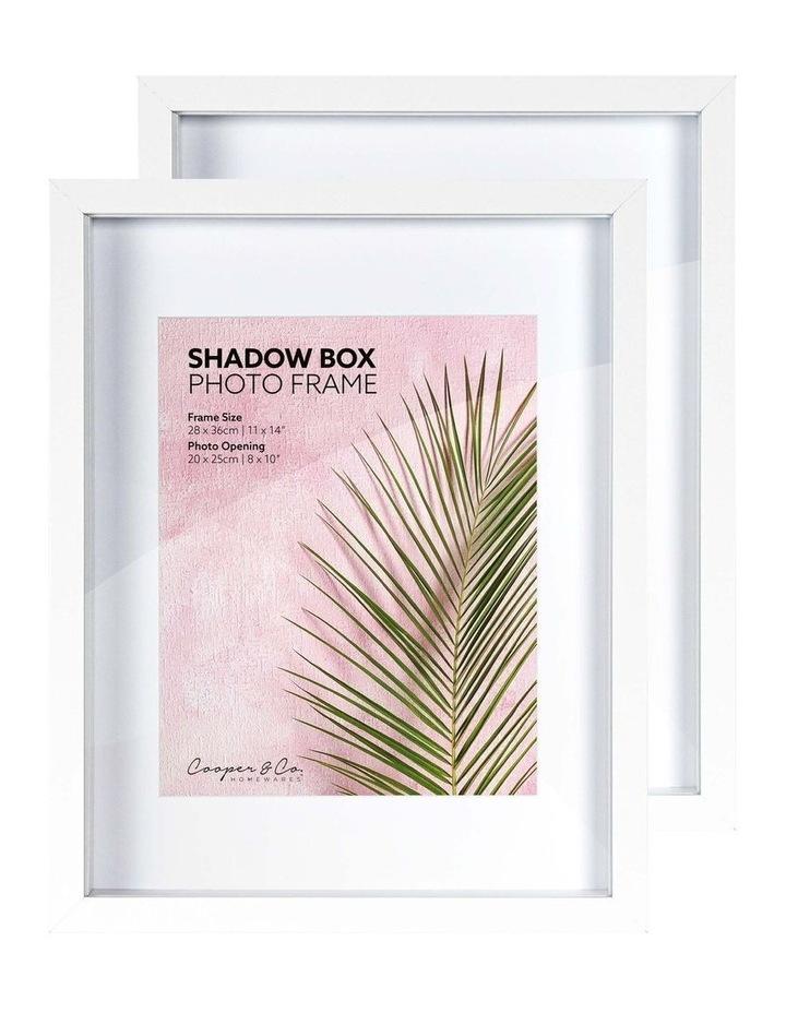 28X36cm/20X25cm Set of 2 White Shadow Box Wooden Photo Frame image 3