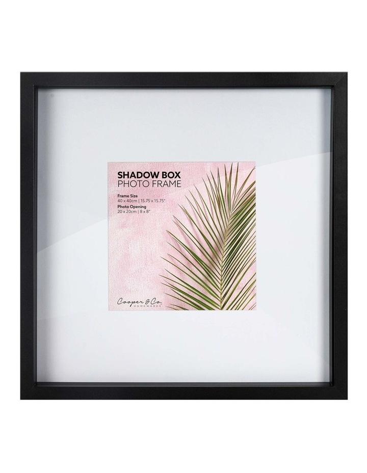 Set of 2 40x40cm mat to 20x20cm Set of 2 Black Shadow Box Wooden Photo Frame image 1