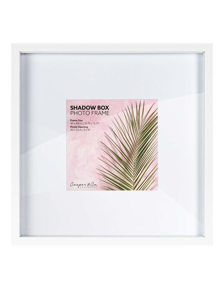 Set of 2 40x40cm mat to 20x20cm Set of 2 White Shadow Box Wooden Photo Frame image 1