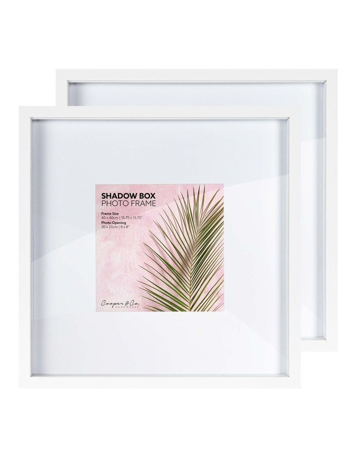 Set of 2 40x40cm mat to 20x20cm Set of 2 White Shadow Box Wooden Photo Frame image 3