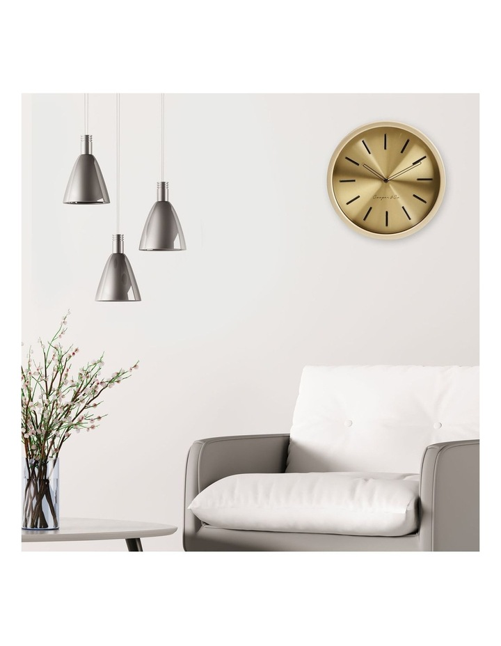 30cm Metallic Gold Silent Movement Round Wall Clock image 2