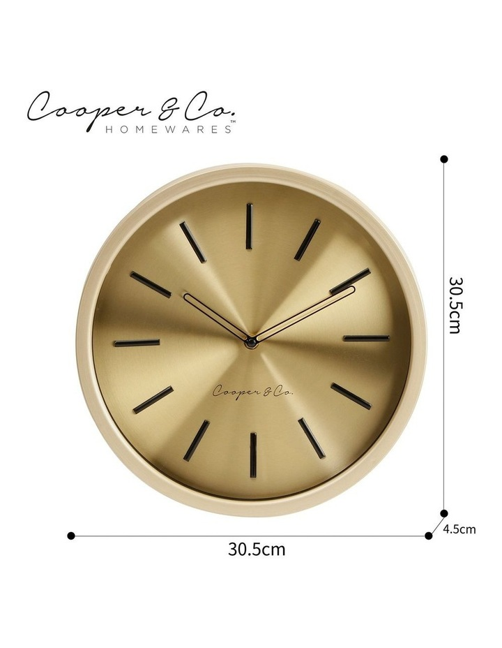 30cm Metallic Gold Silent Movement Round Wall Clock image 6